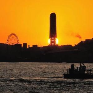 関門海峡の日没
