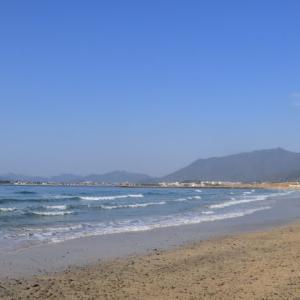 やっと晴れたので綾羅木海岸へ