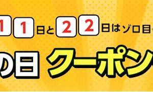 【毎月11日22日限定!】早い者勝ち!ゾロ目の日クーポン争奪戦!