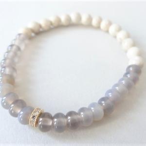 新作「〇Gem stones Bracelet〇 グレーオニキス+リバーストーン」