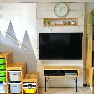 テレビコーナーDIY!超強力マグネット[ネオジム磁石]で取り外し可能な板壁作り