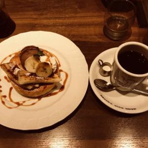 星乃珈琲店のバナナとチョコアイスのスフレパンケーキ(2020年夏メニュー)