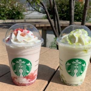 スタバ新作りんごのフラペチーノ♪「ピンク」と「グリーン」を飲み比べ!