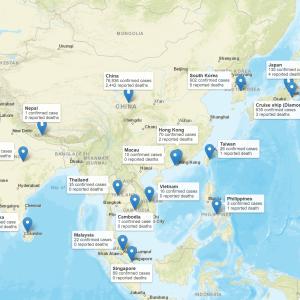 世界中で広がるコロナウイルスの分布図