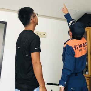消防設備の検査。