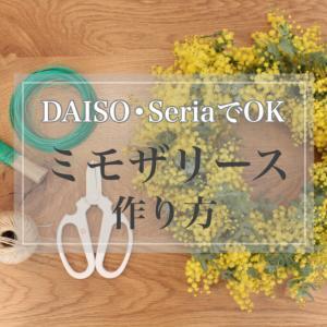ダイソー・セリアでOK!【簡単】ミモザリースの作り方〜ミモザ成長日記【ドライフラワー】