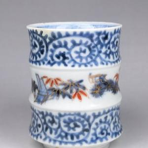 竹節形猪口 松竹梅・蛸唐草文 Bamboo-shaped cup with Tako-Karakusa pattern