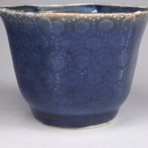 瑠璃釉 亀甲文六角猪口 Blue glaze hexagonal cup