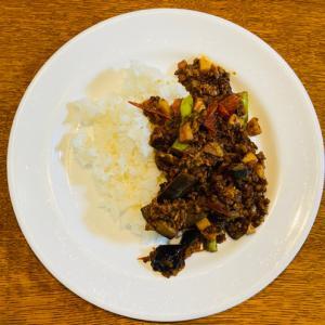 カレー粉で作る!なすとひき肉のカレーをフライパンで作ってみた【夏野菜たっぷりレシピ】