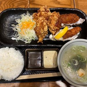 【北海道厚岸コレド室町店】カキと鶏のザンギ定食 日本橋で一年中牡蠣が食べられる!