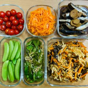 【つくりおきチャレンジ②】野菜は4種がおすすめ!煮物・蒸しもの・生もの+プチトマト