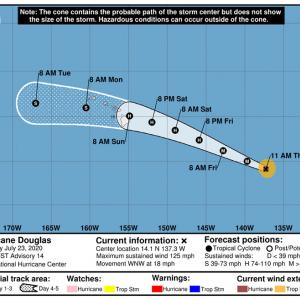今週末ハリケーンがハワイ諸島に接近