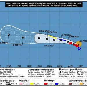 ハリケーン「ダグラス」接近に備え閉鎖となるリスト