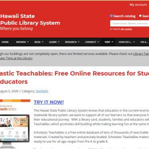 ハワイ州立図書館が無料のオンライン教育リソースを公開