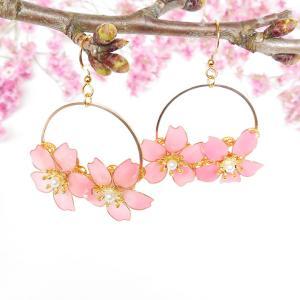 春色!レジンフラワー 桜ピアス