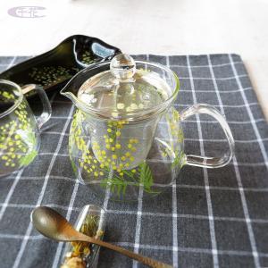 【ミモザ柄】耐熱ガラスのカップ&ティーポット