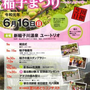 20日(日) に富士宮市稲子で開催予定の芝川日和「梅の里」稲子まつりは中止
