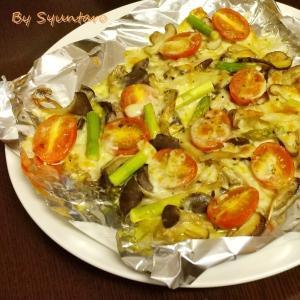 【簡単・トースター】きのこで菌活『いろいろキノコのトースター焼き』~ピザ用チーズでピザ風味~