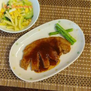 【簡単・ワンパン調理】しっかり味が美味しい、子供も大好きな『グローブトンテキ~アスパラガス添え~』