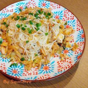 【素麺・リメイク】簡単おつまみ『ツナキムチ素麺』