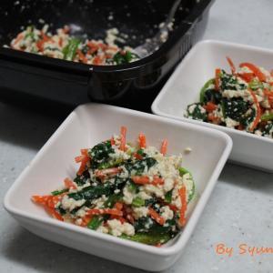グルラボプラスで簡単レンチン調理『人参とほうれん草の白和え』~味付けも麺つゆで簡単に~