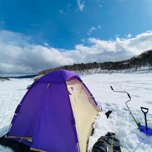 岩洞湖の氷上ワカサギ穴釣り