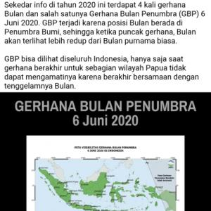 6日は半影月食 Gerhana Bulan Penumbra