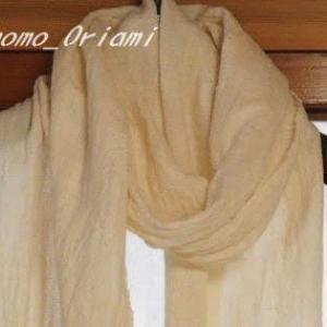 綿単糸のマフラー・洗い上がり