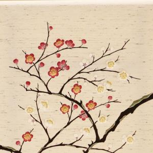 「紅白梅」手描き友禅 染名古屋帯