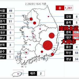 韓国の新型コロナ感染者数状況 26日16時基準