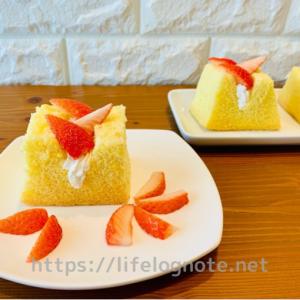 シフォンケーキサンド*いちごの簡単レシピ【17㎝型使用】次の日でもふわふわ♪