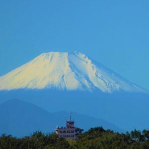 初冠雪の翌日 冬ばれの今朝の富士山