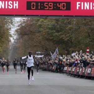 人類初!サブ2!マラソンで2時間の壁を突破!エリウド・キプチョゲ(ケニア)1時間59分40秒