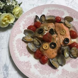 鮭とあさりのレモンソテー|菜の花の時期