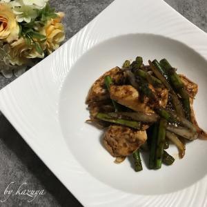 鶏むね肉とニンニクの芽の中華炒め