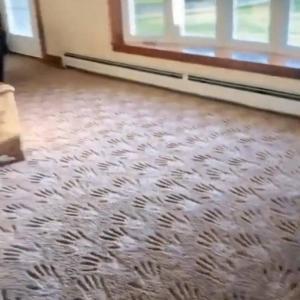 じゅうたんの模様がホラーすぎる…。