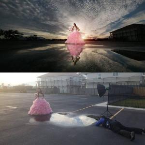 ただの駐車場の水たまりも撮り方でこんなに変わる!