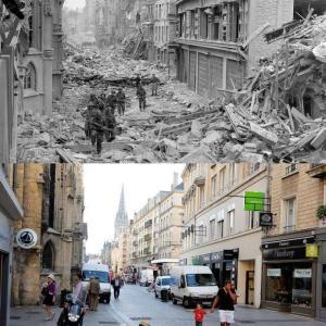 フランスの街並み。戦争時と現在比較