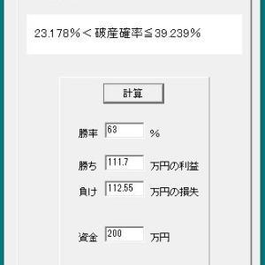 能力一定(大数の法則下)の破産確率検証(by hasan.exe)