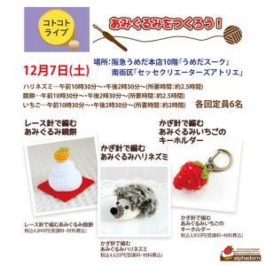 12月にあみぐるみハリネズミのワークショップを開催します♪予約受付は11月13日から!!