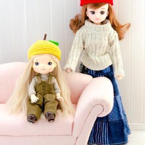オビツ11&リカちゃんサイズのあみぐるみりんごと夏みかんの帽子が出来上がりました♪