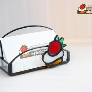 いちごケーキのステンドグラスカードケース