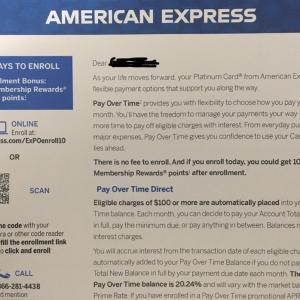 アメックスプラチナ限定Pay Over Timeで10000ポイントゲットした話