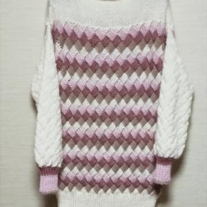 4色使いのバスケット編みのワンピース 完成編