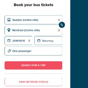 モントリオールから高速バス「オルレアンエクスプレス」、「グレイハウンド」、「リモカー」を使って近郊・中距離の観光地へ移動する方法