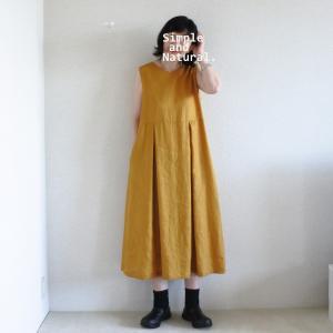 夏のリネンワンピース、着用画像です。