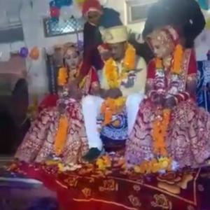 2人の花嫁を迎えた花婿