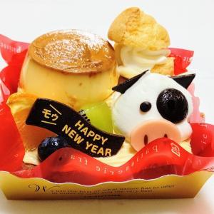シャトレーゼ  かわいい干支のプリンアラモードと賀正ケーキ宇治の風