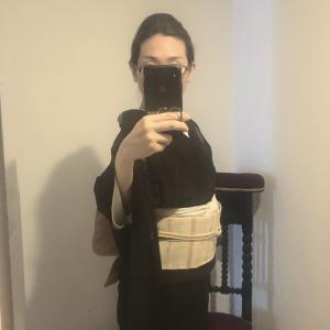 夏大島 色紙 黒檀(こくたん)✖️ 諸紙布 横段 灰白色(かいはいしょく)に小豆色