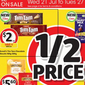 【ニュース】TimTam半額($2.00)セール、コールズで27/Jul/2021まで + 新味「ダーク・チョコ・バノフィ」